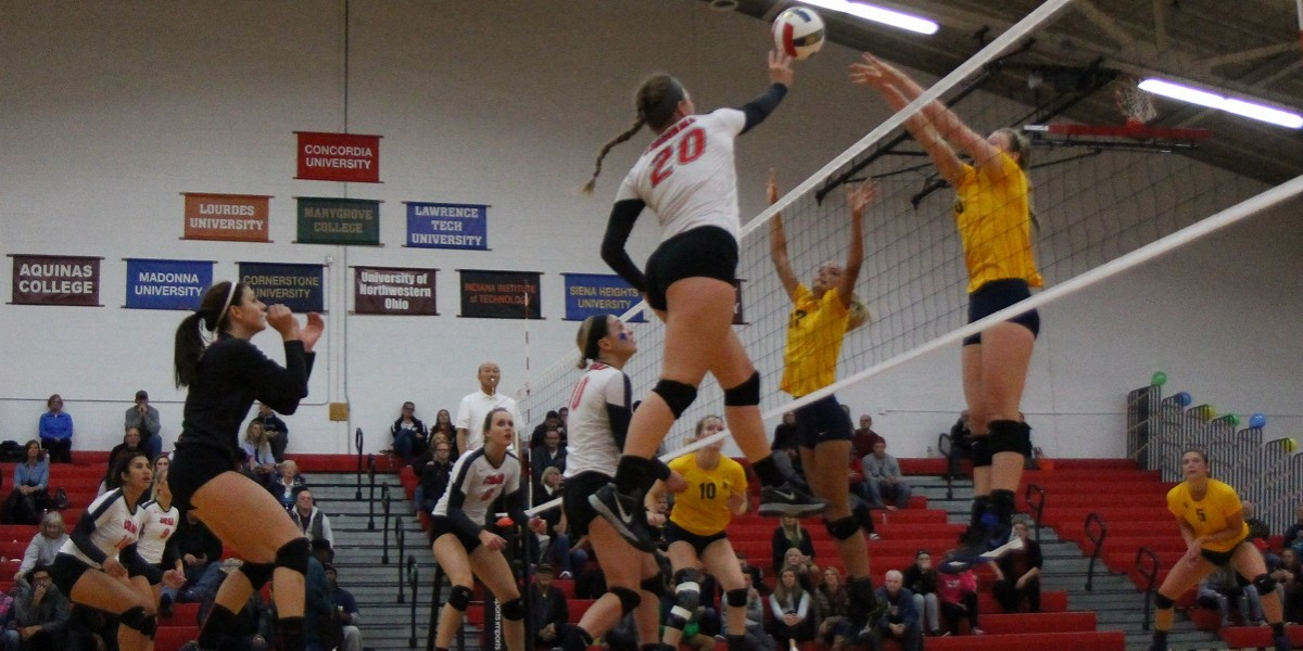 Erica den Boer records one of her team high 16 kills vs. Siena Heights (Photo Courtesy of Dan Brieschke)