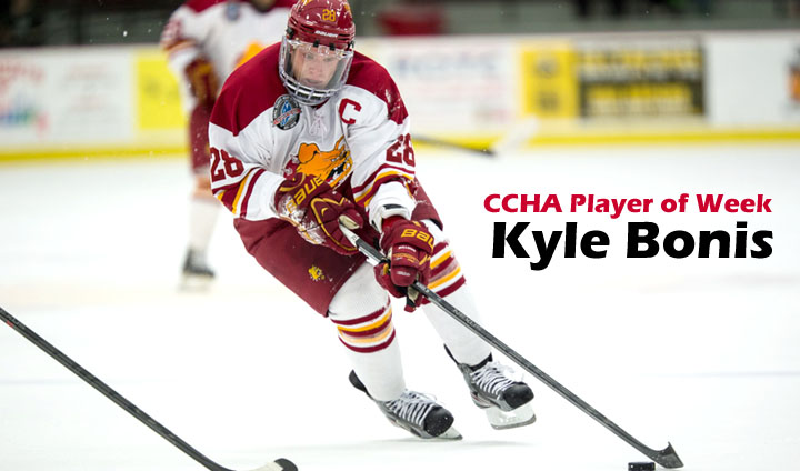 Senior Captain Kyle Bonis Claims CCHA Offensive Player Of Week Honor