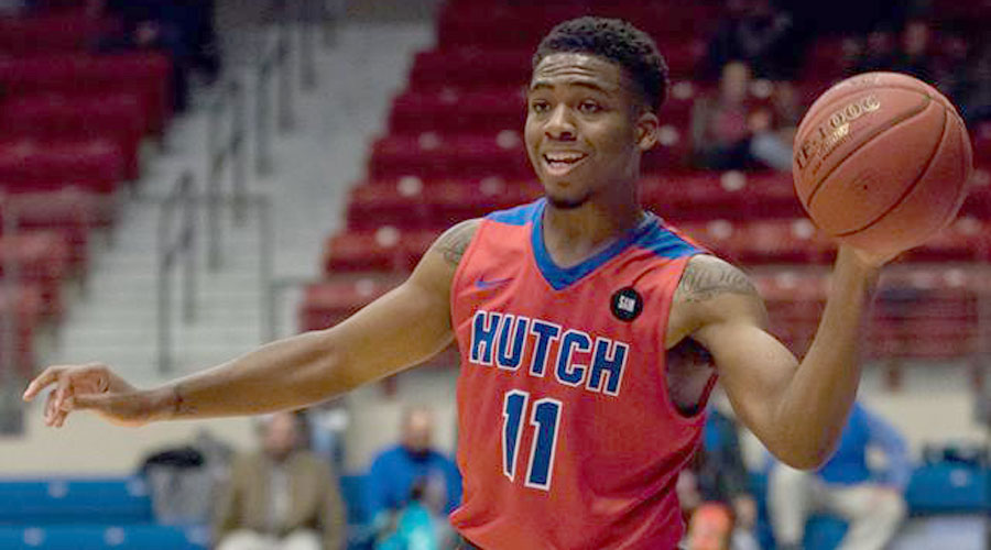 J.J. Rhymes scored 21 points, 12 in the second half, to lead the No. 1 Blue Dragons to a 76-69 Jayhawk Conference victory over Seward County on Saturday in Liberal (Allie Schweizer/Blue Dragon Sports Information)