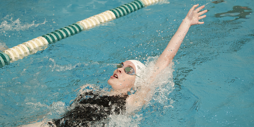 Heidi Demers of Women's Swimming & Diving Stars on Day 1 at the 2017 GNAC Championship