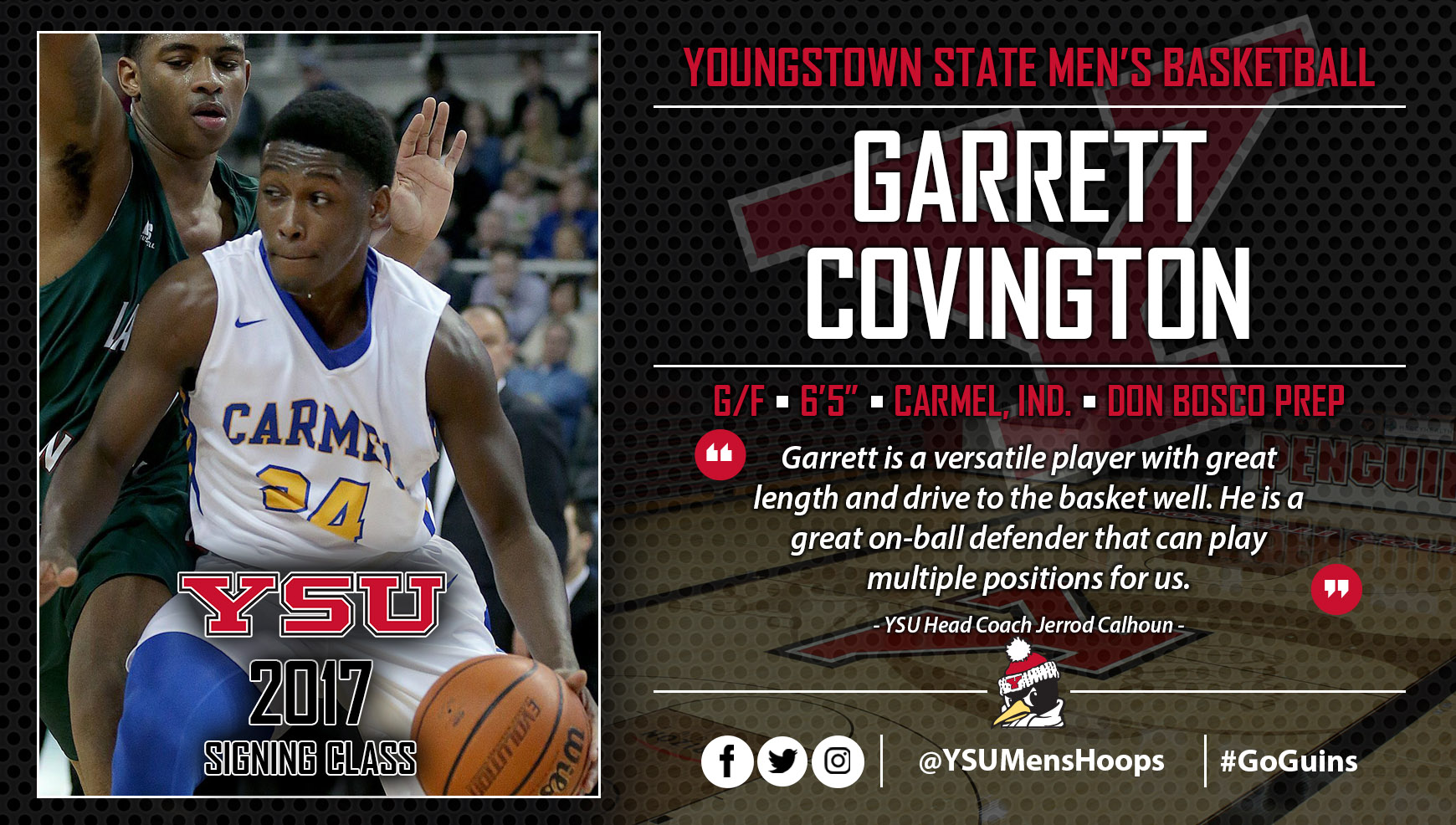 Garrett Covington Signs NLI with Youngstown State