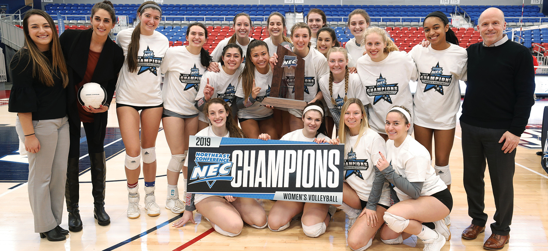 SHU Volleyball won the 2019 NEC Championship and advance to the NCAA Tournament! (Credit: Jason Cohn)