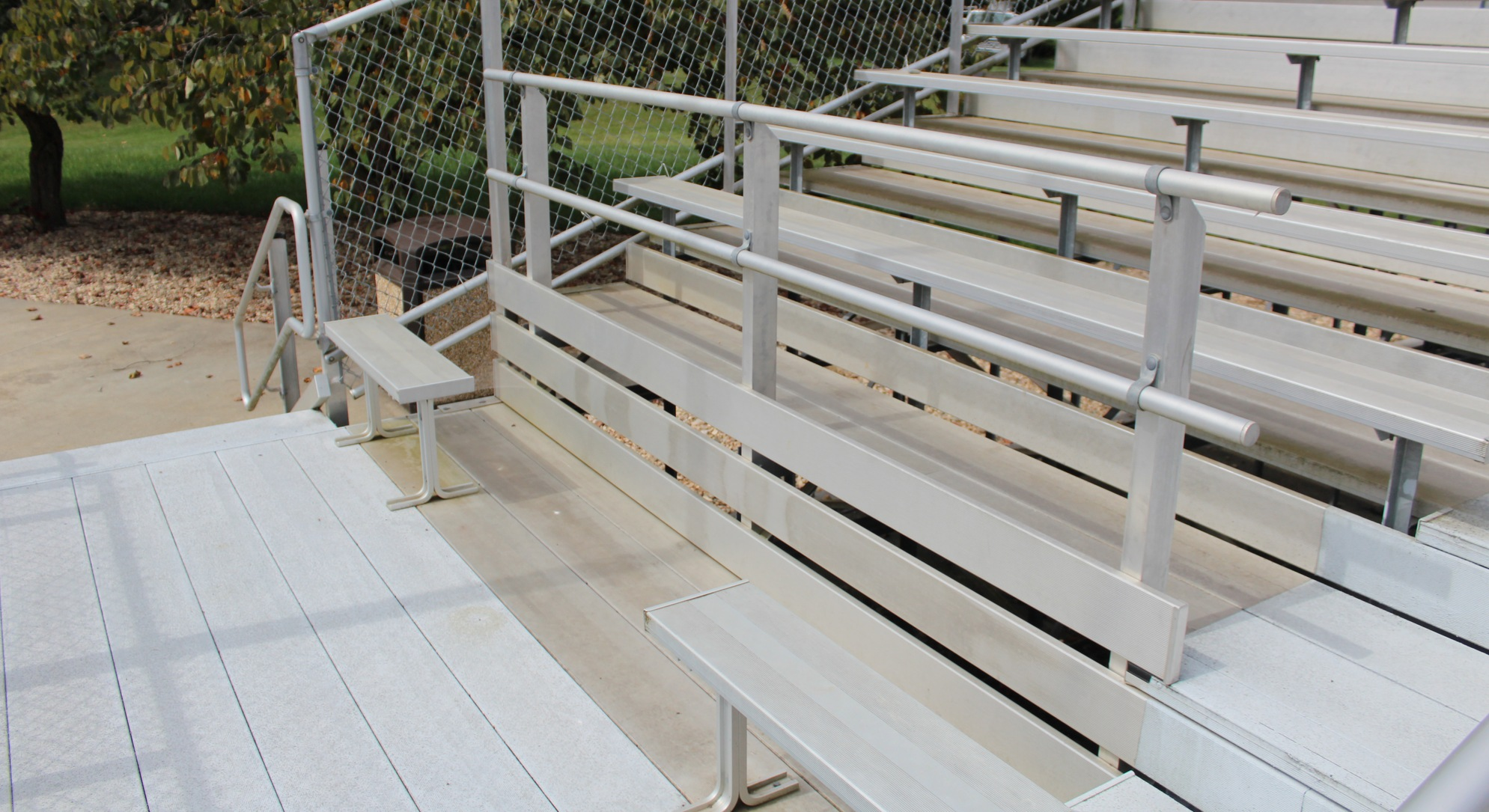 accessible seating area in softball bleachers