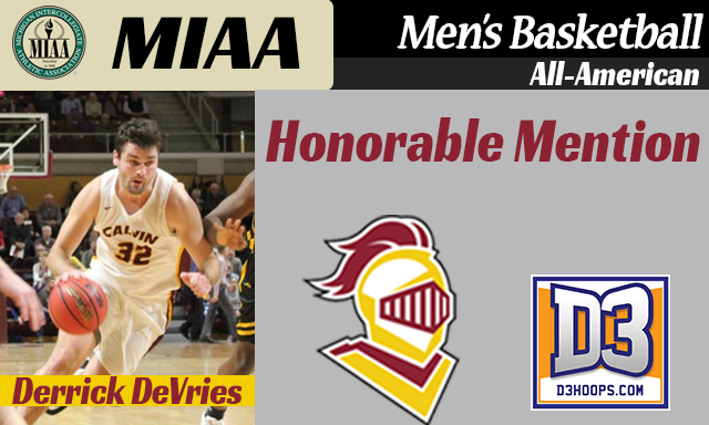 Calvin's Derrick DeVries Named D3Hoops.com All-American Honorable Mention