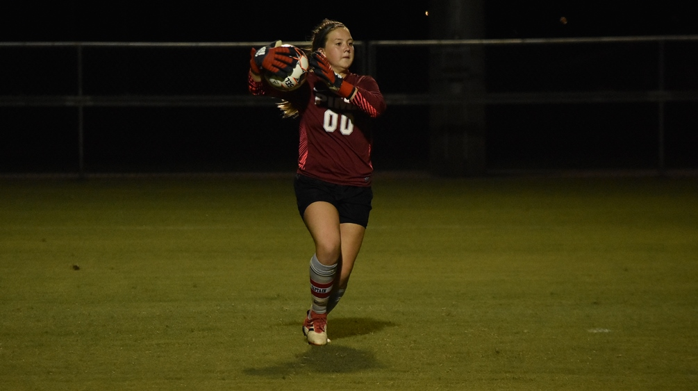 Sophomore goalkeeper Mackenzie Bernal (Tanque Verde HS) finished with five saves but the Aztecs fell at No. 19 Paradise Valley Community College 4-0. The Aztecs are now 5-5-3 on the season. Photo by Ben Carbajal