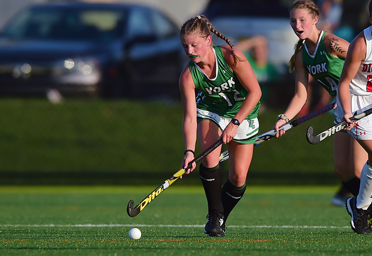Junior captain Dana Meehling photographed in action during the September 4 game against Dickinson
