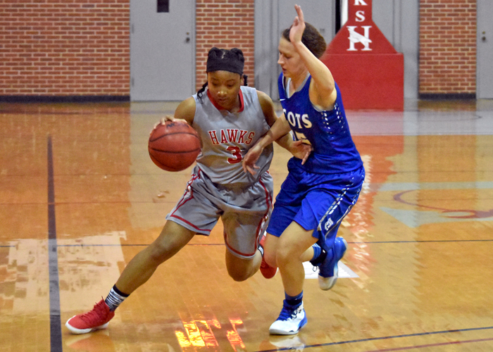 Senior T.I. Duncan had 20 points, 11 rebounds and eight assists on Friday to help the Lady Hawks beat Maryville for the first time since 2008.