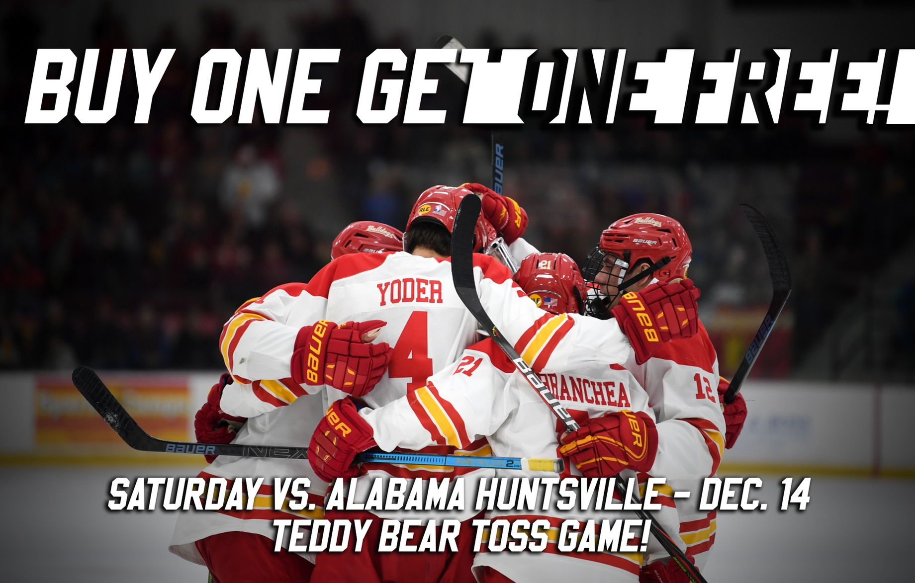 Buy One Get One Offer For Saturday, Dec. 14 Teddy Bear Toss Game For Ferris State Hockey On Sale Now!