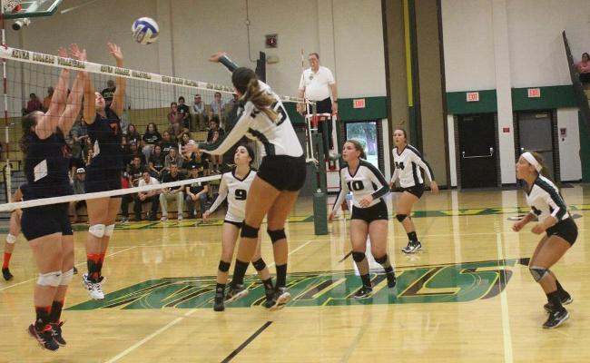 Senior Devan Curtis (No. 5) compiled 20 digs with 11 kills for her fourth double-double of the season in Saturday's four-set win over SUNY Polytechnic (photo courtesy of Ed Webber, Keuka College Sports Information department).