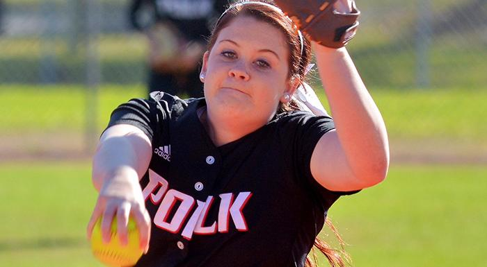 Lauren West pitched a complete game shutout as the Eagles took one of two games from St. Pete. (Photo by Tom Hagerty, Polk State.)