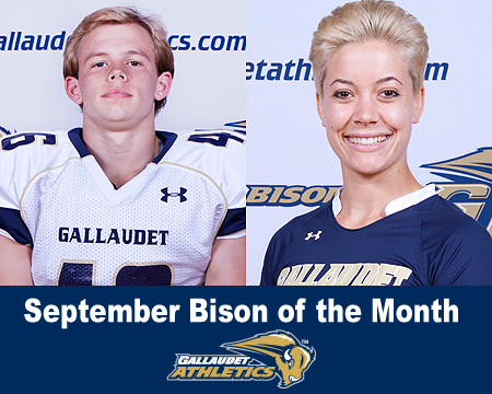 Nicholas Elstad and Lane Peters named September Bison of the Month presented by Gallaudet Interpreting Services