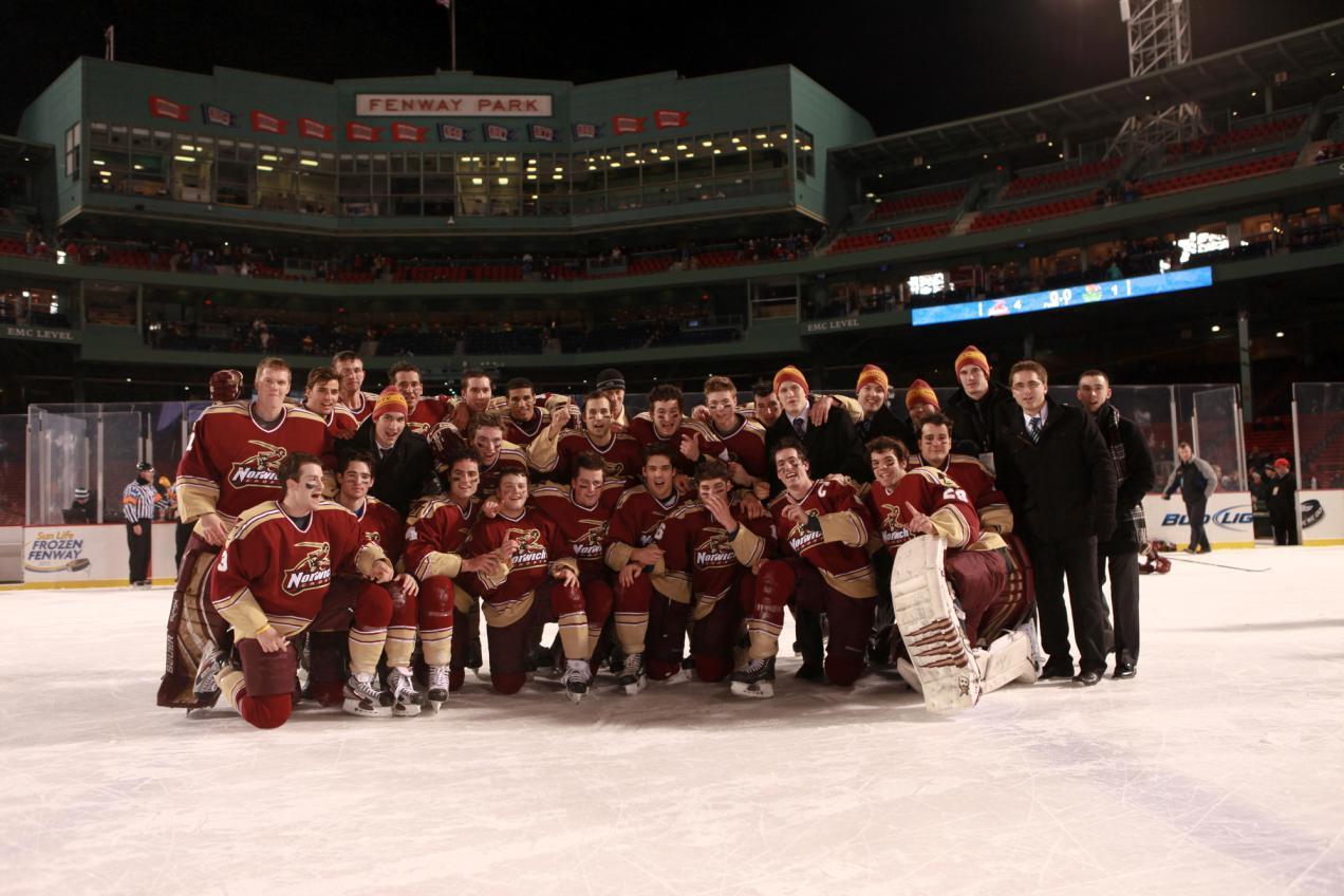 Men's Hockey: Gorman, Lindensmith lead No. 1 Norwich to 4-1 win over Babson in historic outdoor game at Fenway Park
