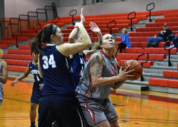 Junior Juliette Harp had 19 points, nine rebounds and six blocked shots in Friday's 66-56 win over Meredith College.