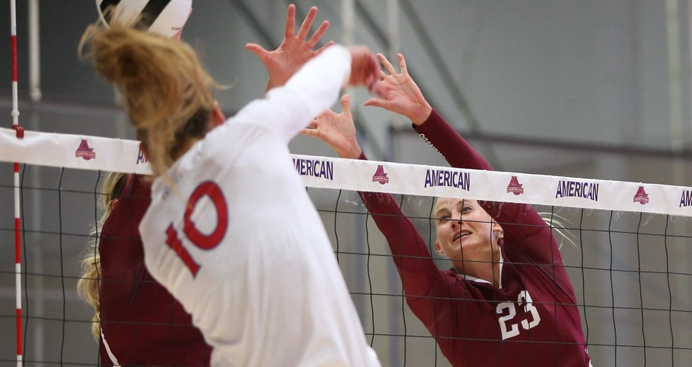 Jensen Cunningham (23) notched a season-best 10 total blocks on Thursday night.
