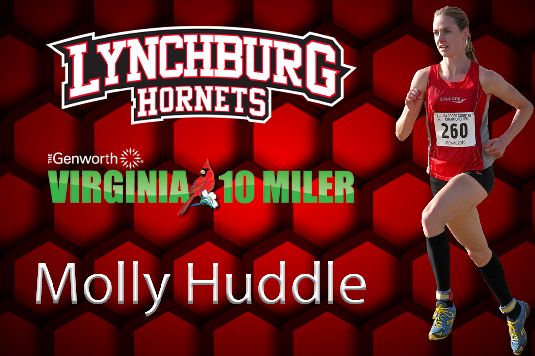 Molly Huddle runs on the red honeycomb backdrop.