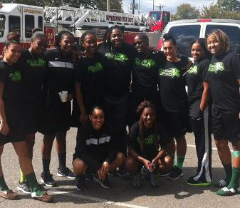 The Felician women's basketball team poses at the annual Rutherford Recration Touch-A-Truck on Sept. 29, 2013.