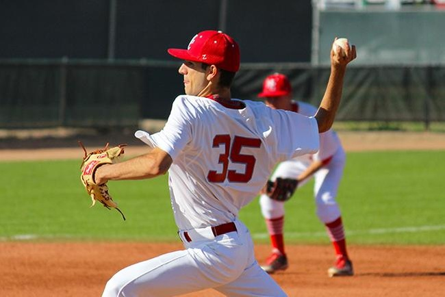 Chase Merriman pitched 8.1 innings Tuesday in Mesa's win over Chandler-Gilbert, 2-0. (photo by Aaron Webster)