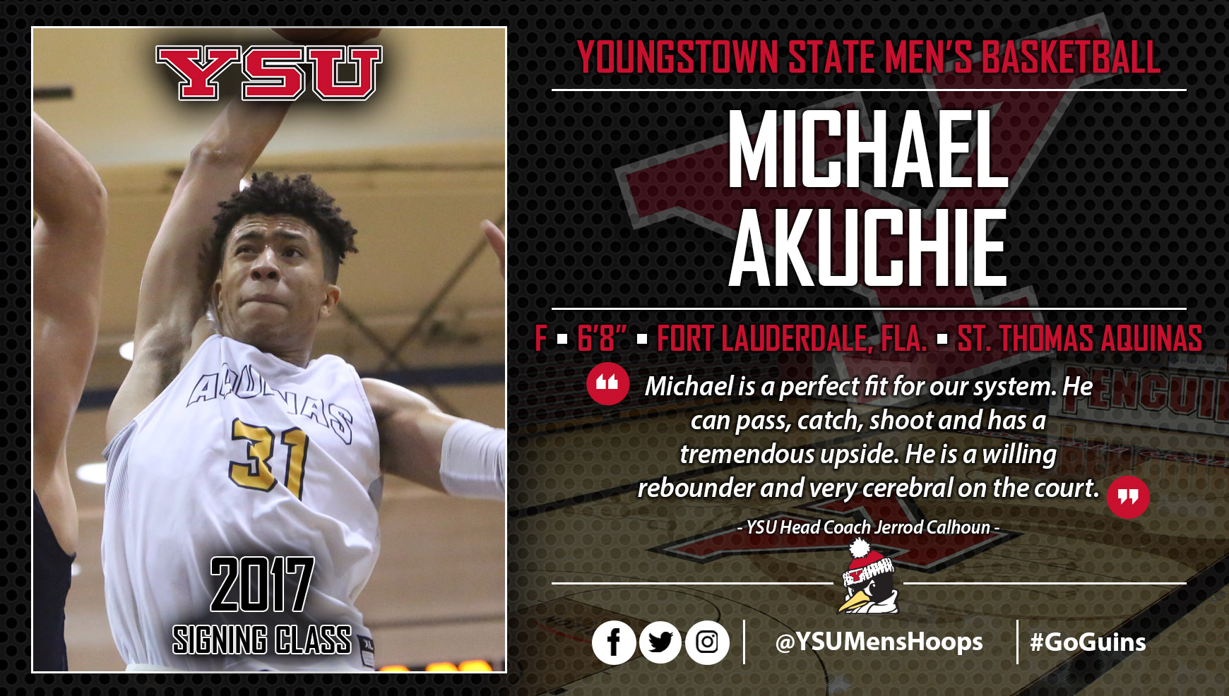 Youngstown State Men's Basketball Inks Michael Akuchie to NLI