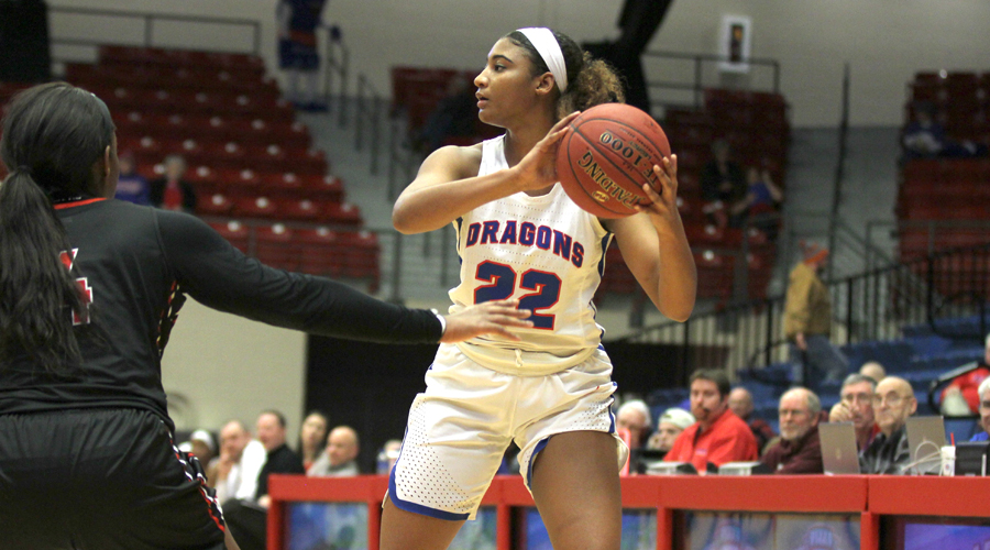 Dejanae Roebuck posted her 20th career double-double with 23 points and 14 rebounds as the No. 10 Blue Dragons defeated Northwest Tech 100-69 on Wednesday at the Sports Arena. (Bre Rogers/Blue Dragon Sports Information)