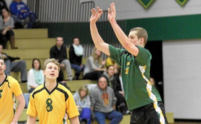 Chris Mooring (right) and the Keuka College men's volleyball team swept Purchase College and Lesley University to kick off the 2015 season Friday night (photo courtesy of Ed Webber, Keuka College Sports Information department).