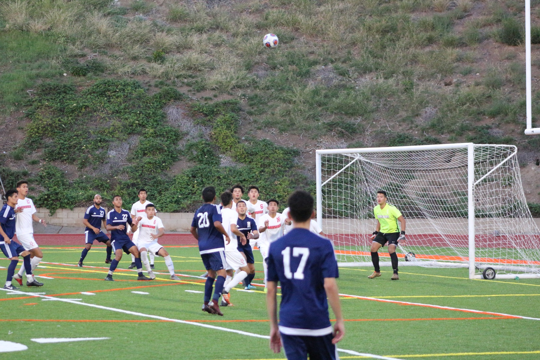 Patrick Luevano looks on as his throw-in approaches the Bakersfield goal. Image: Chris Peterson
