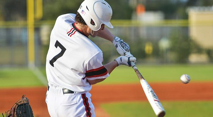 Sam Koruschak singled, scored a run, and drove in two runs in a 5-3 win over Lake-Sumter.  (Photo by Tom Hagerty, Polk State.)