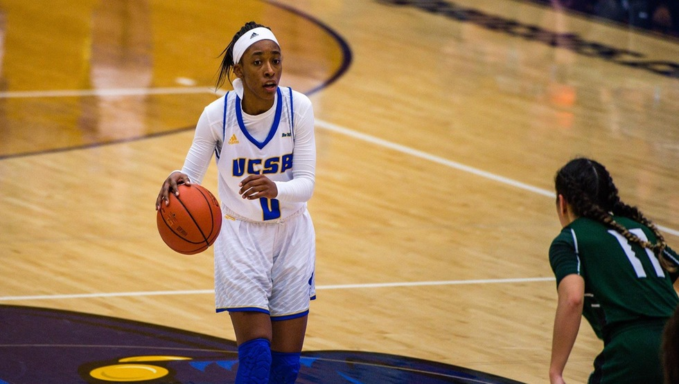 Sophomore point guard Danae Miller scored a career-high 16 points in the Gauchos' 63-58 win over San Diego State. (Photo by Eric Isaacs)