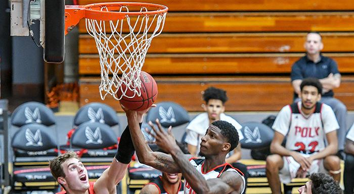 "Tekorian ""TK"" Smith led the Eagles with 30 points in a 94-75 win over Miami Dade.  (Photo by Tom Hagerty, Polk State.)"