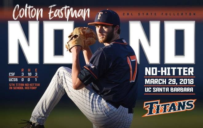 Eastman Tosses Fifth No-Hitter in Program History, as Titans Win Big West Opener