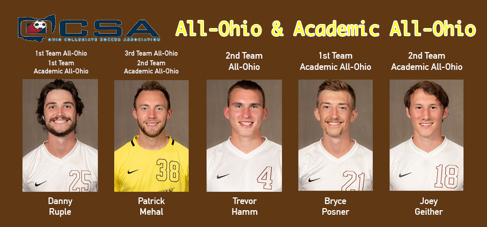 Five Men's Soccer Student-Athletes Recognized by the Ohio Collegiate Soccer Association