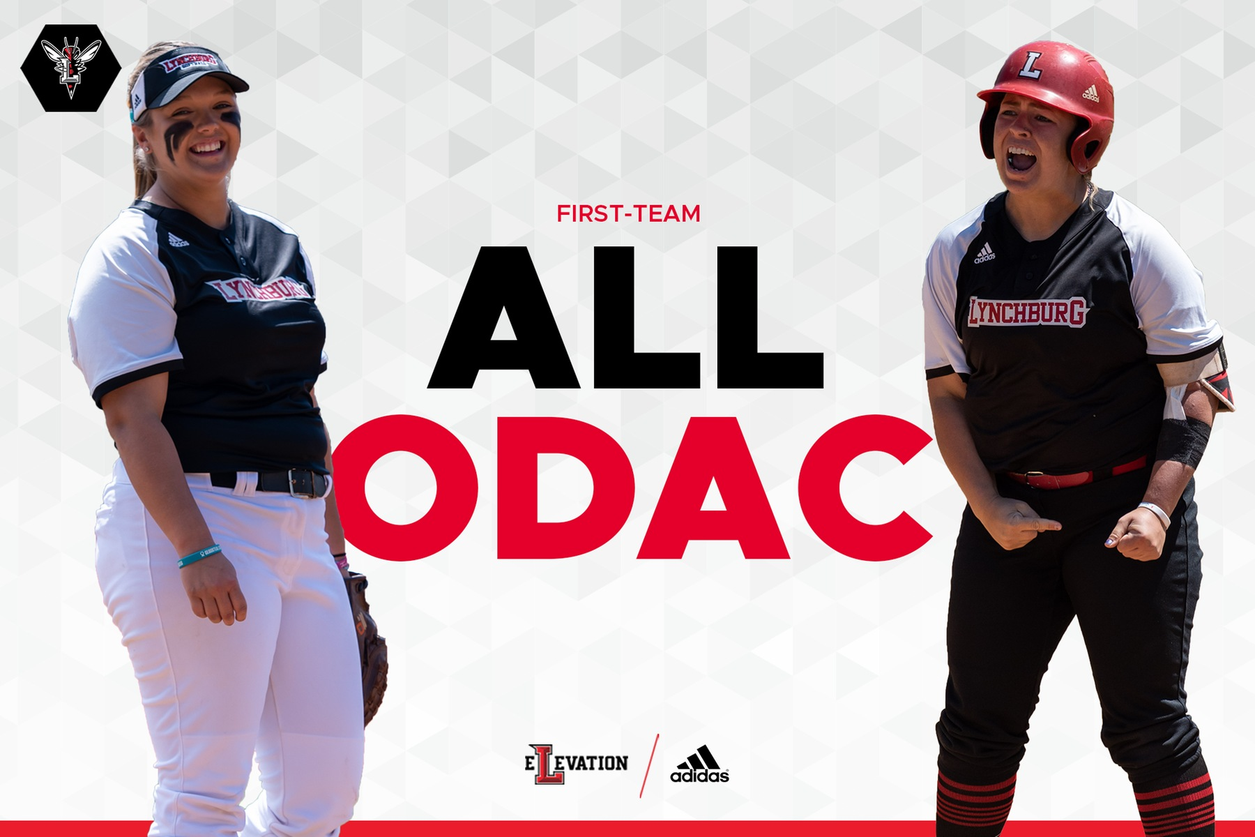 All-ODAC softball image with white background and cutouts of Mabry and Chitwood playing the game