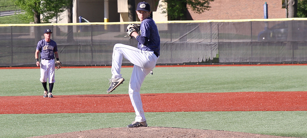 GU baseball pitcher Billy Sowers winds up to make a pitch on a sunny afternoon at Hoy Field.