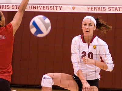 Senior Kristy Gilchrist slams a career-high 21 kills in win at Hillsdale.