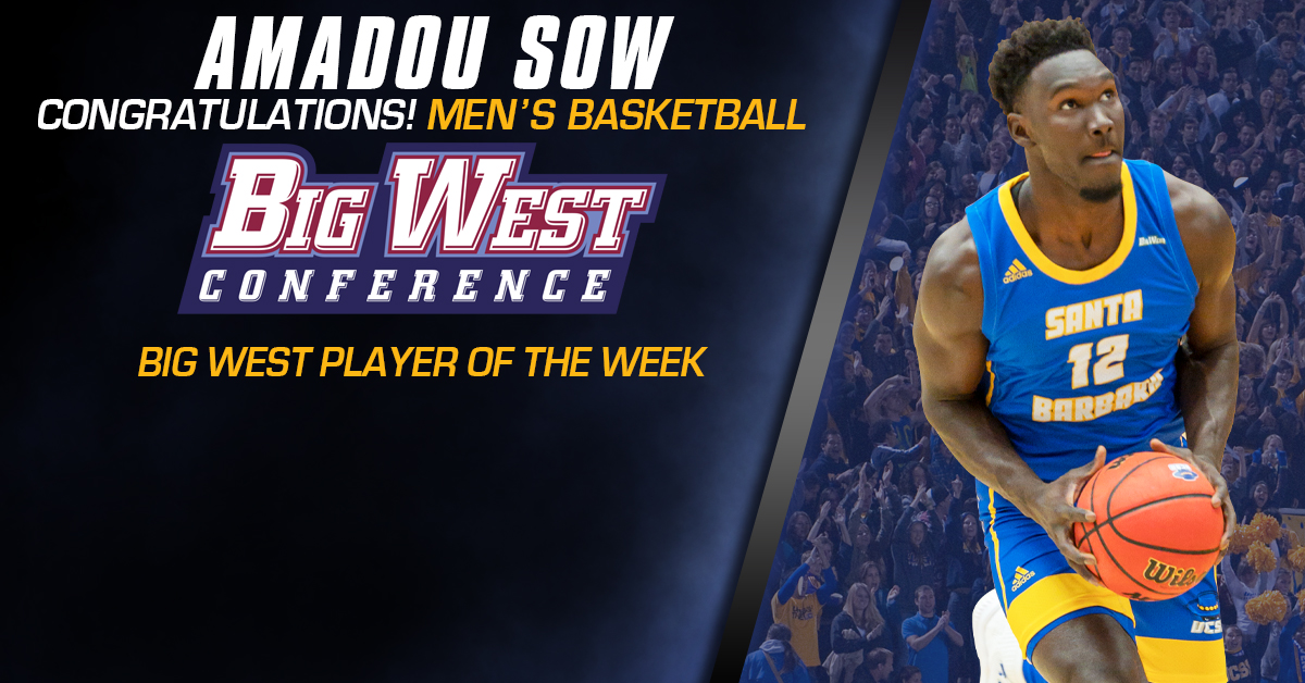 Sow Named Big West Player of the Week After Leading UCSB to Wins over Hawai'i, UC Irvine