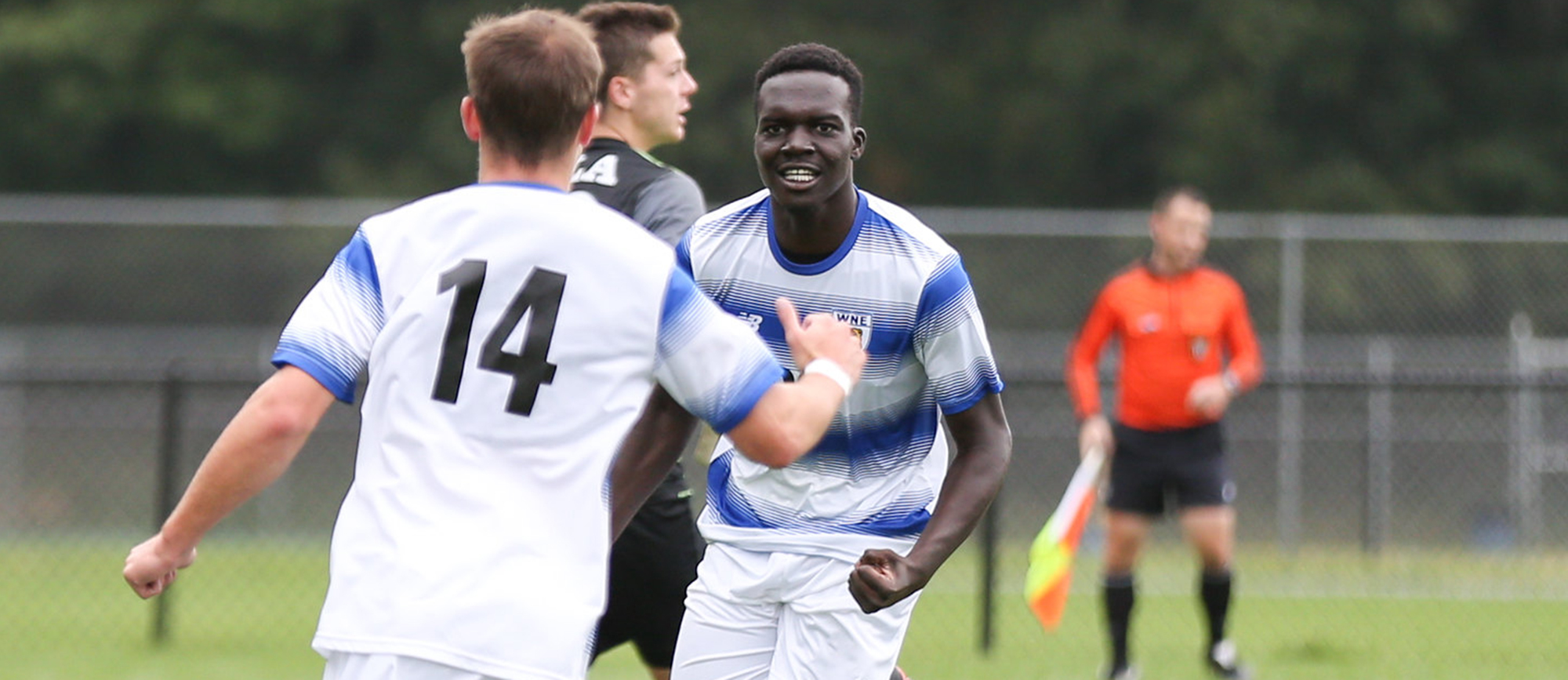Bryan Atimbo recorded a goal and an assist in Western New England's 3-0 win over Curry on Tuesday. (Photo by Chris Marion)