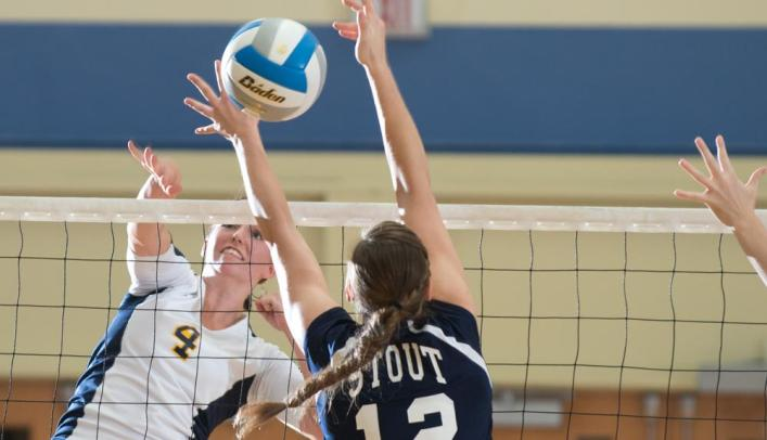 Volleyball Opens WIAC Schedule with 3-0 Win over Stout