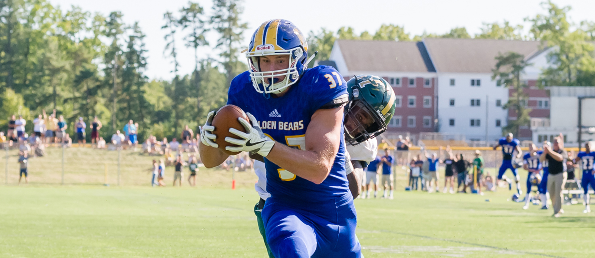 Sophomore tight end Josh Henry's 28-yard touchdown reception with less than a minute remaining capped Western New England's 21-14, comeback victory over Husson University on Saturday. (Photo by Bryan Hewitt)
