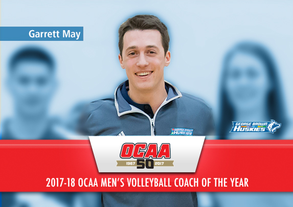 GEORGE BROWN'S GARRETT MAY NAMED 2017-18 OCAA MEN'S VOLLEYBALL COACH OF THE YEAR