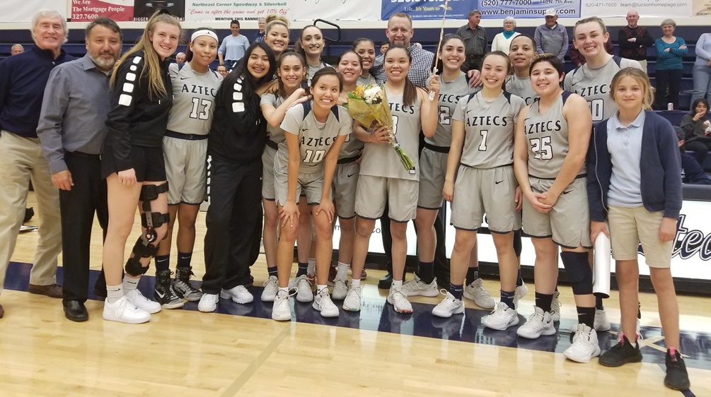 Sophomore Jacqulynn Nakai (Coconino HS) broke Tia Morrison's career scoring record on Wednesday as the Aztecs beat Chandler-Gilbert Community College 81-62 clinching the No. 1 seed for the NJCAA Region I, Division II tournament. The Aztecs are 17-11 overall and 13-7 in ACCAC play. Photo by Raymond Suarez
