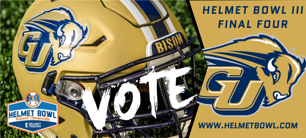 Helmet Bowl III - Final Four graphic with the Gallaudet Bison helmet and the GU Bison Logo. Vote daily at www.helmetbowl.com.