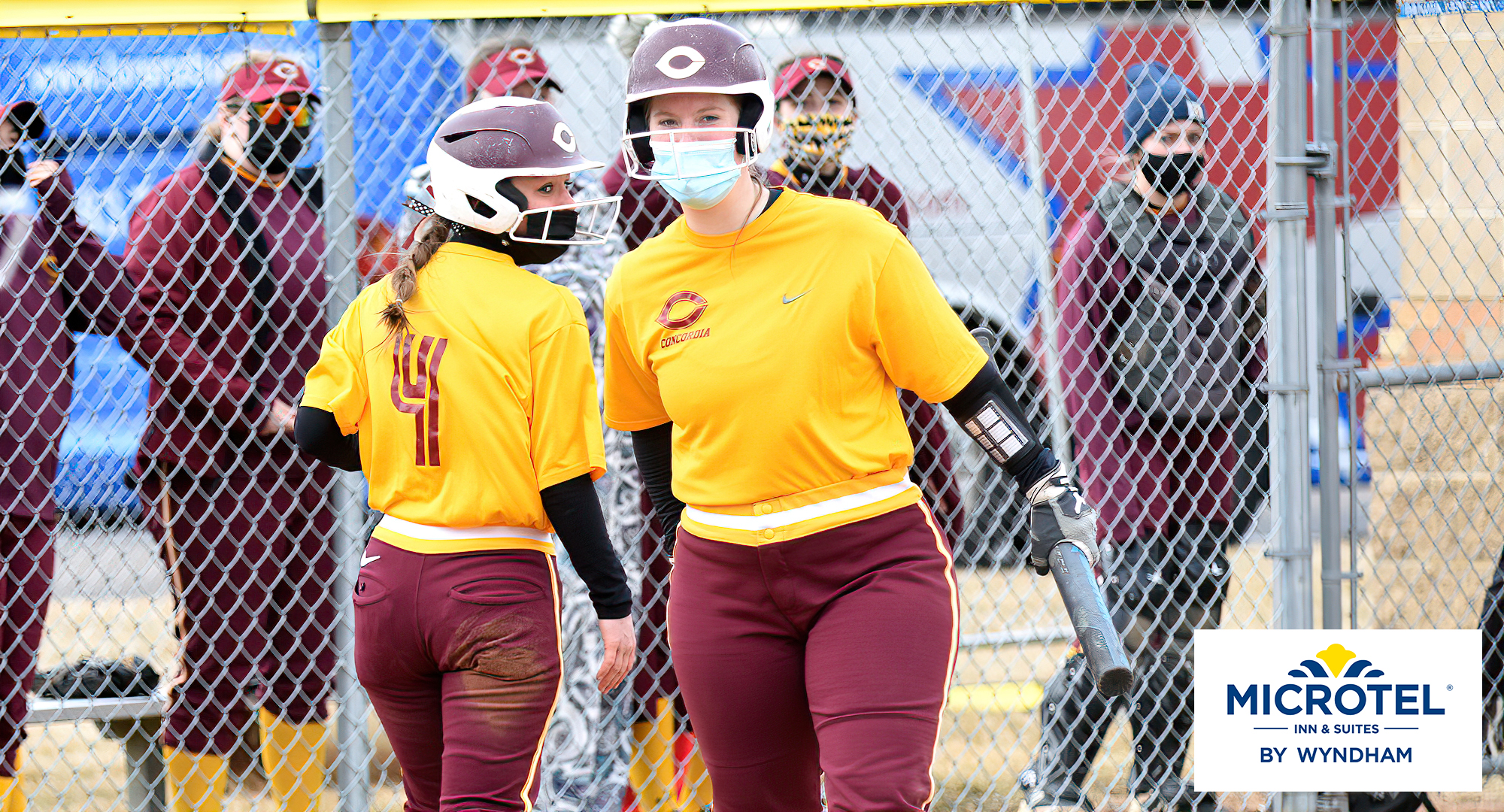 Senior Taylor Erholtz hit a home run in both games of the Cobbers' DH at previously nationally ranked St. Olaf.