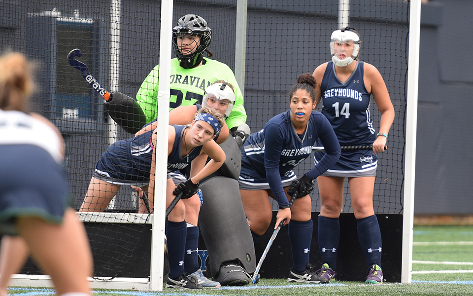The Greyhounds wait to defend a penalty corner versus Drew University on John Makuvek Field.
