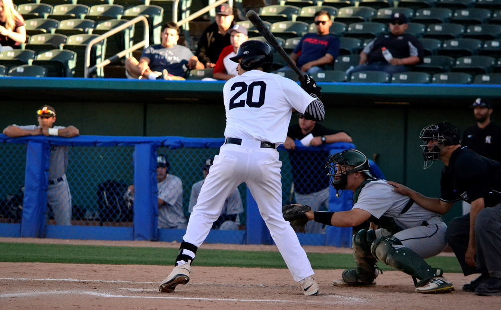 Sophomore Miguel Figueroa (Tucson HS) hit a grand-slam as part of Pima's comeback in the first game but the Aztecs dropped two games at Phoenix College. The Aztecs have lost 11 of their last 12 games and are now 18-30 overall and 9-27 in ACCAC conference play. Photo by Ben Carbajal.