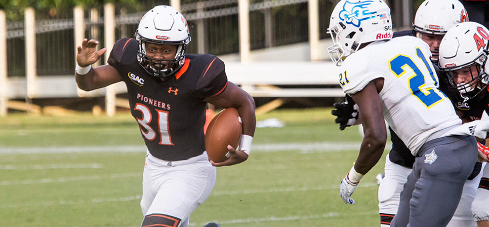 Jordon Shippy rushed for a school-record 258 yards along with 3 TDs in Tusculum's 37-10 win over Limestone (photo by Chuck Williams)
