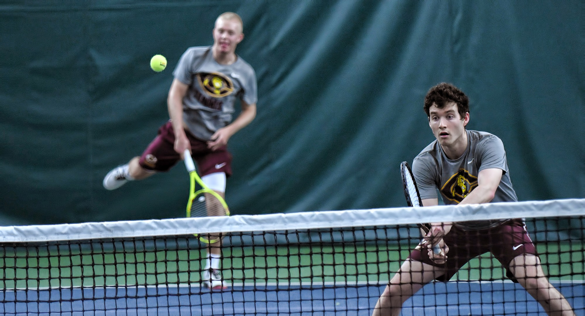 The Cobber No.1 doubles team of Jared Saue (L) and Erik Porter rolled to an 8-1 against St. Scholastica and have now won a pair of matches on the year.