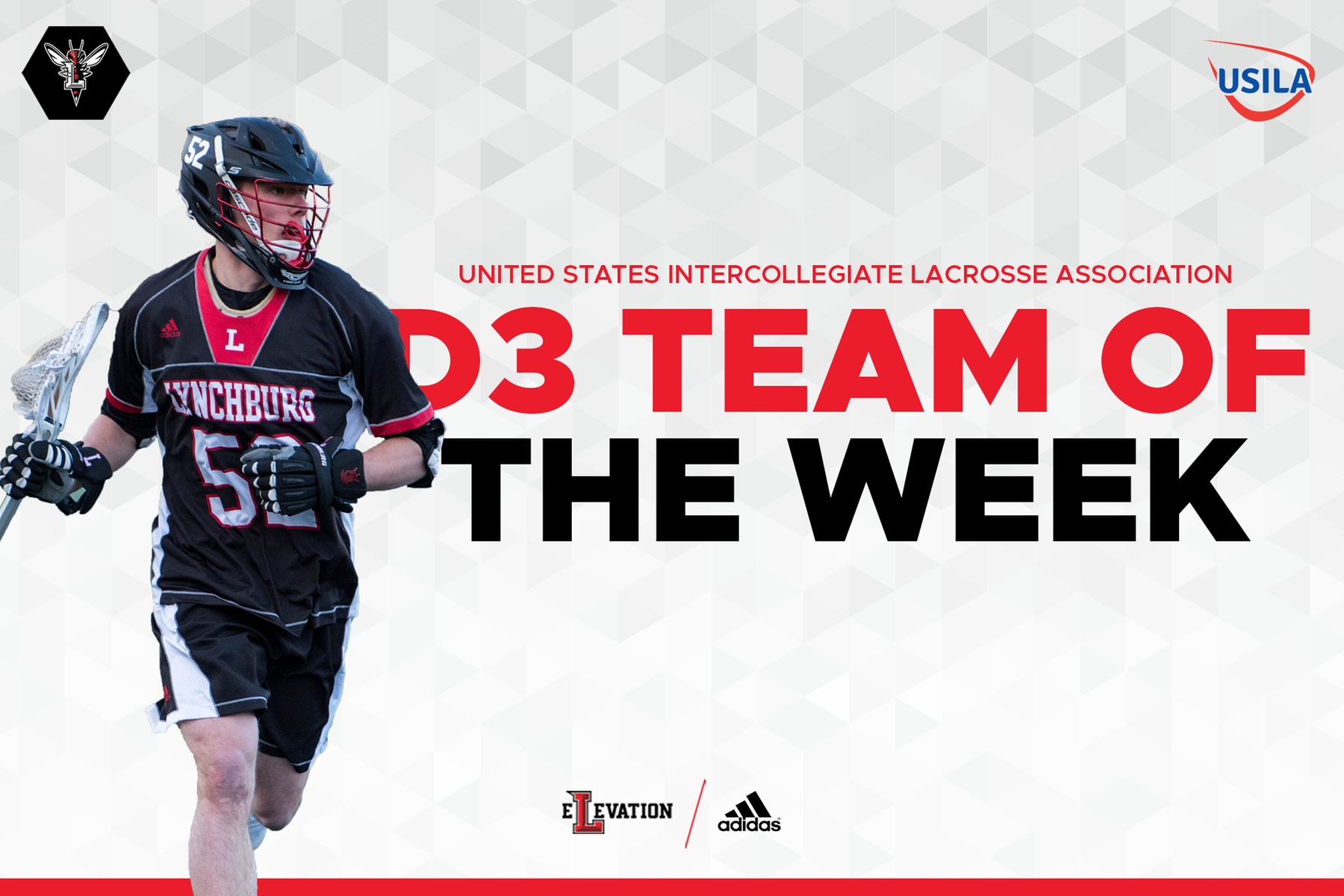 IMage of Josiah Martin playing lacrosse on white background with red and black letters; D3 team of the week