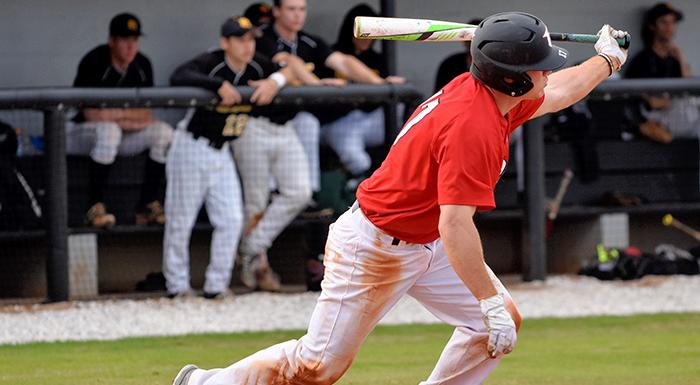 Cole Warken went 3-for-3 with a triple, a stolen base, two runs, and an RBI as the Eagles beat Pasco-Hernando 7-3. (Photo by Tom Hagerty, Polk State.)