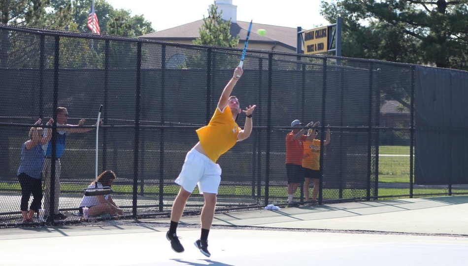 Junior Kyle Haines grinded out a 7-6(4), 7-5 win at five singles against Wabash on Monday (Photo by Joseph Templin).