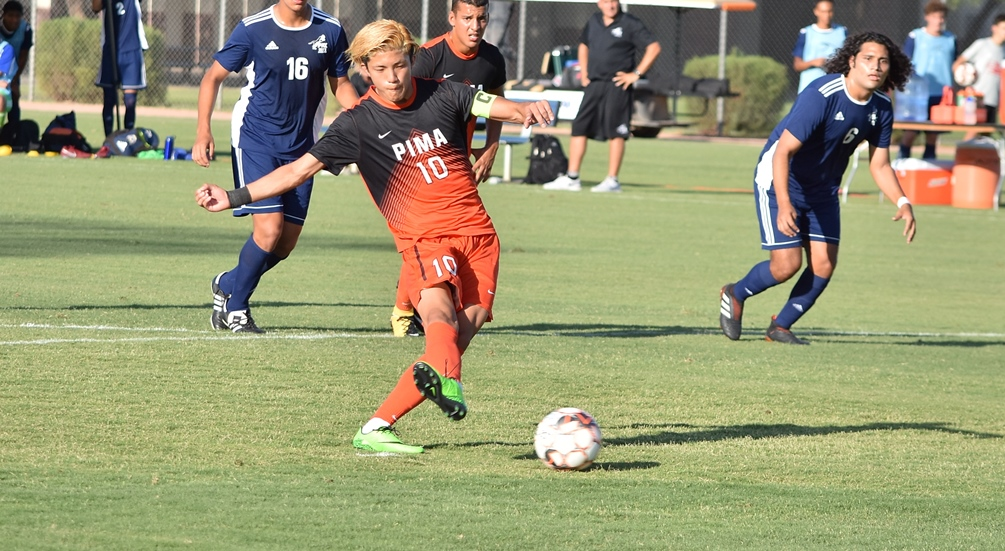 Sophomore Hugo Kametani had a hat trick in the first half as the No. 4 ranked Aztecs earned their third straight shutout win; beating South Mountain 5-0. The Aztecs have won six straight and are now 14-2 on the season. Photo by Ben Carbajal