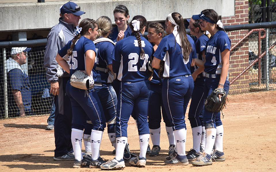 The Greyhounds talk between innings of the championship game at the 2018 NCAA Division III Ewing, New Jersey Regional versus Salisbury (Md.) University.